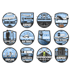 civil aviation pilot school and airport schedule vector image