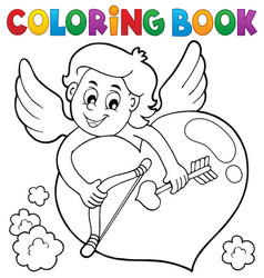 Coloring book cupid topic 2 vector