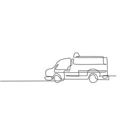 Continuous one line drawing hospital ambulance vector