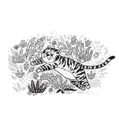 Contour print tiger is jumping in tropical garden vector