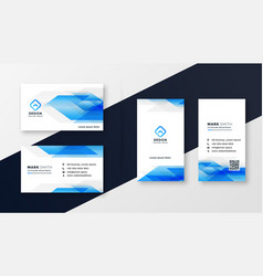 creative blue abstract business card design vector image