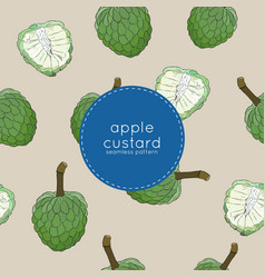 Custard apple or sugar apple seamless pattern vector
