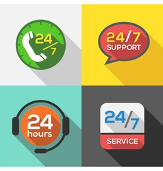Customer Service 24 hours Support Flat Icon set vector