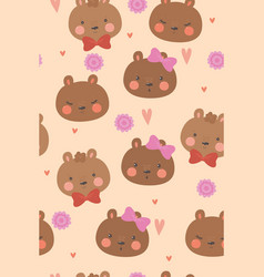 cute bears and hearts seamless pattern vector image