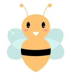 Cute beautiful yellow bee isolated on white vector