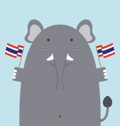 cute fat big elephant holding Thai flag vector image