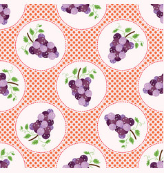 Cute grapes polka dot vector