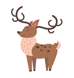 Cute reindeer cartoon flat sticker or icon vector