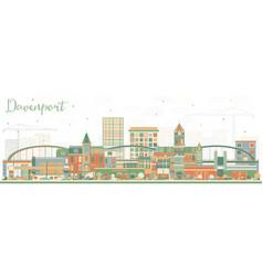 Davenport iowa skyline with color buildings vector