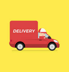 delivery van with deliveryman vector image
