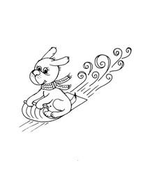 doodle dog sled vector image
