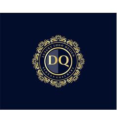 Dq initial letter gold calligraphic feminine vector