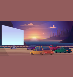 Drive cinema outdoor park open space for cars vector
