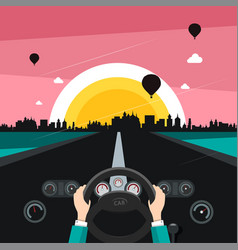 driving car on street with sunset city on vector image