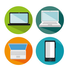 Electronics devices set icons vector