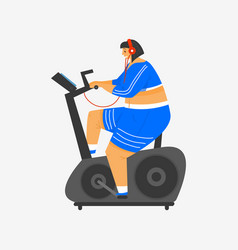 exercise bike for fitness girl plus size health vector image