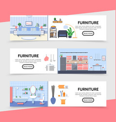 Flat furniture horizontal banners vector