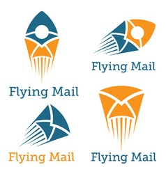Flying mail design template vector