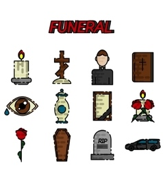 Funeral flat icon set vector image