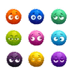 funny cartoon colorful shaggy balls with eyes vector image