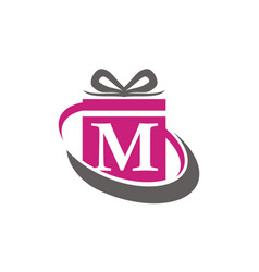 Gift box ribbon letter m vector