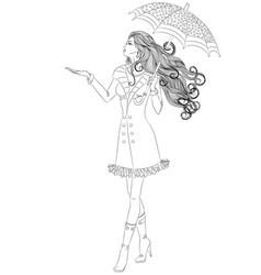 Girl walking under an umbrella vector