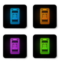Glowing neon mobile smart phone with app delivery vector