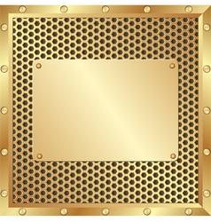 Golden background with metal plaque vector