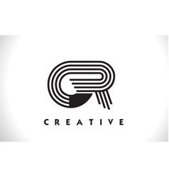 Gr logo letter with black lines design line letter vector