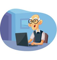 Grandpa using laptop cartoon vector