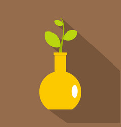 green plant in a yellow vase icon flat style vector image vector image