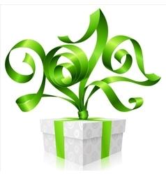 green ribbon and gift box symbol new year 2017 vector image