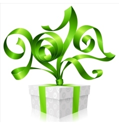 green ribbon and gift box Symbol of New Year 2017 vector image