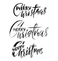 hand drawn calligraphy set merry christmas vector image