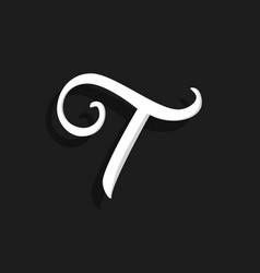 Handwritten logo letter t vector