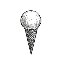 Ink sketch ice cream cone vector