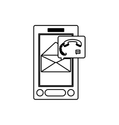 Isolated smartphone of call center design vector