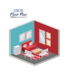 isometric floor plan of living room with carpet in vector image