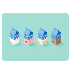 isometric of different flavor milk boxes vector image