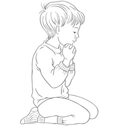 Little boy kneeling down in pray coloring page vector