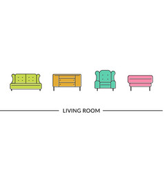 living room furniture line icons for web vector image