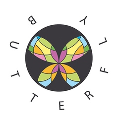 logo abstract butterfly in the circle vector image