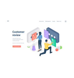 Man and woman reading service reviews isometric vector