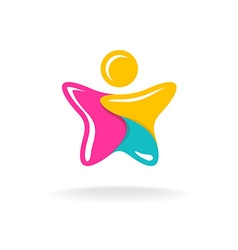 man in a star shape colorful logo color parts vector image