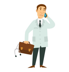 medical worker doctor with telephone briefcase and vector image