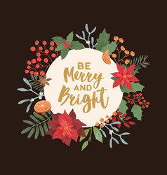 Merry and bright greeting card template xmas vector