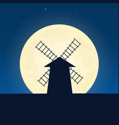 Mill silhouette banner with moon on the night vector