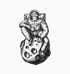 Monkey astronaut sitting on the moon chimpanzee vector