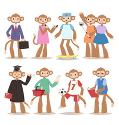 Monkey man making good sign like people cartoon vector