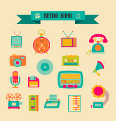 Multicolored icons with tape on topic retro vector